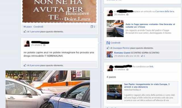 A 17 anni causa un incidente d'auto e si compiace su facebook
